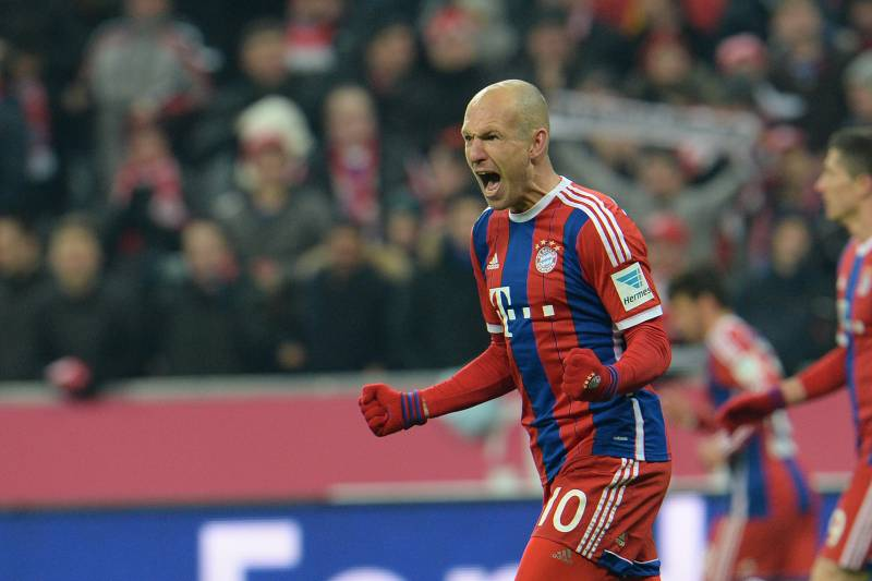 5525a8205 Bayern s Arjen Robben from the Netherlands celebrates after scoring during  the soccer match between FC Bayern