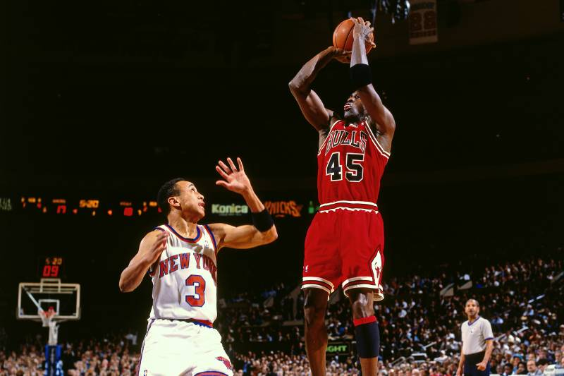 new product 0de97 f122e NEW YORK - MARCH 28  Michael Jordan  45 of the Chicago Bulls shoots against