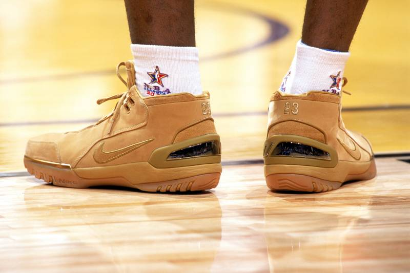 d6372c46e75b LOS ANGELES - FEBRUARY 13  A detail view of the shoes worn by freshman  LeBron