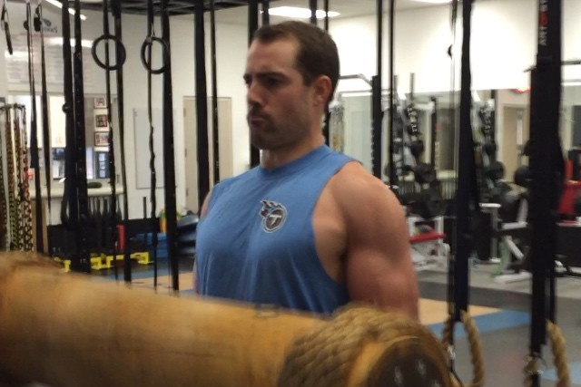 watch 5477a f7972 Titans' Ryan Succop Challenges Marcus Mariota to Arm ...