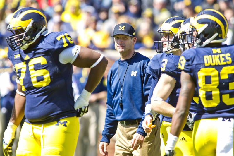 63dae0c8447 Michigan head coach Jim Harbaugh stands on the field amongst his players  between downs during the