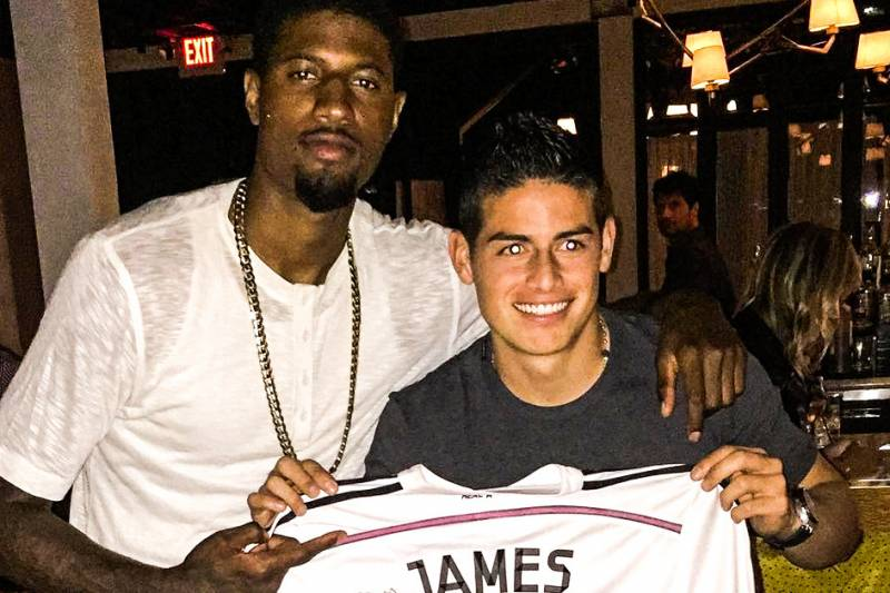 Real Madrid Star James Rodriguez Hangs Out with Indiana Pacers Ace