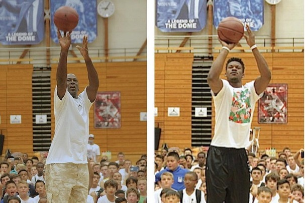 90f3e8a06ab9bc Michael Jordan and Jimmy Butler Take Part in Shooting Contest at Youth Camp