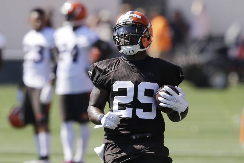 5f007c744194 Cleveland Browns running back Duke Johnson runs a drill during practice at  the NFL football team s