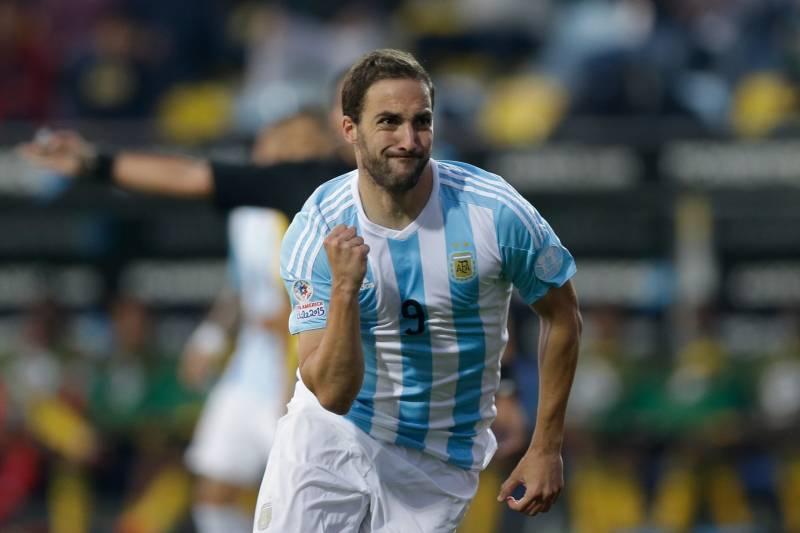d5c9900d6e2 Argentina s Gonzalo Higuain celebrates after scoring against Jamaica during  a Copa America Group B soccer match