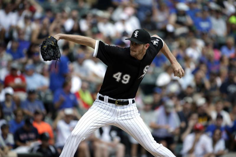 124a42e71cf Chicago White Sox starter Chris Sale throws against the Chicago Cubs during  the third inning of