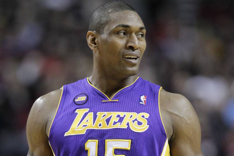 ce5faf9dbca Los Angeles Lakers Metta World Peace is shown during an NBA basketball game  against the Portland