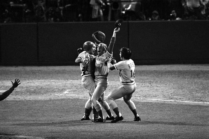 f20b400bd0d Cincinnati Reds pitcher Will McEnany (37) celebrates his team s World  Series championship victory with