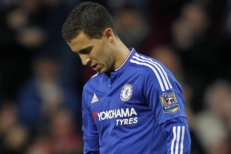 ff7b8b098 Chelsea s Belgian midfielder Eden Hazard reacts after West Ham United s  English striker Andy Carroll scored his
