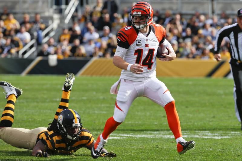86ad835592b Cincinnati Bengals quarterback Andy Dalton (14) scrambles away from Pittsburgh  Steelers linebacker Bud Dupree