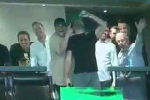 Julian Edelman Chugs His Drink While on Jumbotron at Boston Celtics Game