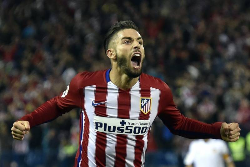 45a11ba82 Atletico Madrid s Belgian midfielder Yannick Ferreira Carrasco celebrates a  goal during the Spanish league football match