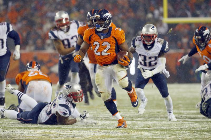 5c8b019dfbd Denver Broncos running back C.J. Anderson (22) breaks free for the  game-winning