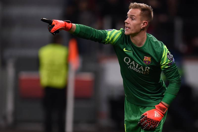 3d98f5b0b Barcelona s German goalkeeper Marc-Andre Ter Stegen reacts during the Group  E