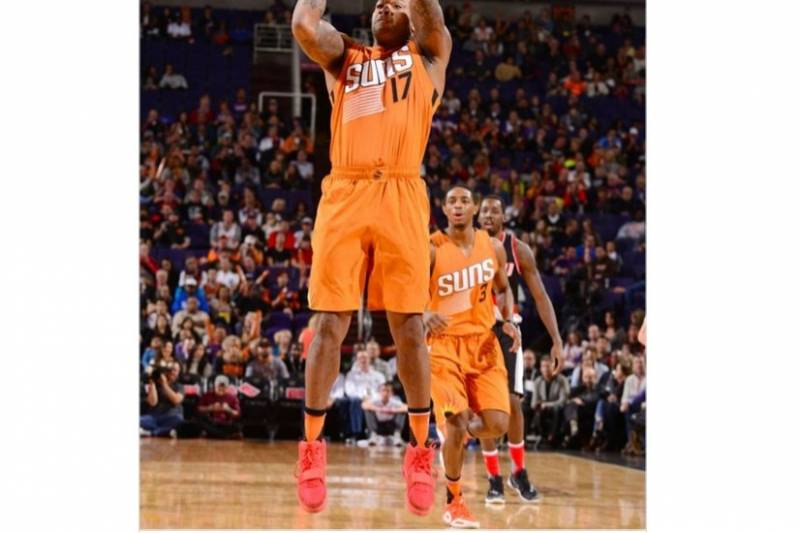 76b44cea5b2622 Suns Forward P.J. Tucker Played in  Red October  Yeezys vs. Blazers for  Charity