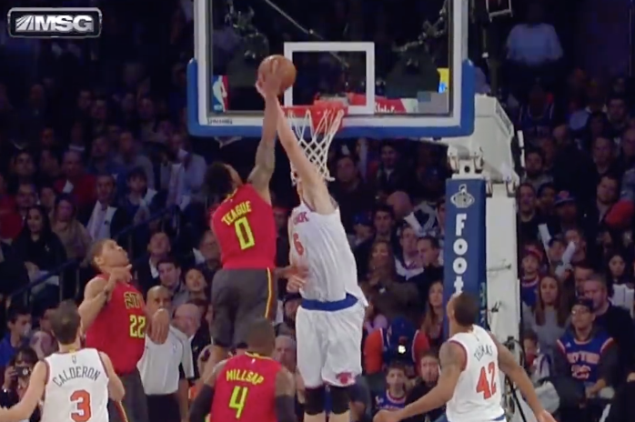62 Hawks G Jeff Teague Gets Denied At The Rim By Knicks Kristaps