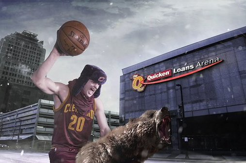19cfd1bc9 Cavs' Timofey Mozgov Promotes Winter Hat Giveaway by Riding a Bear ...
