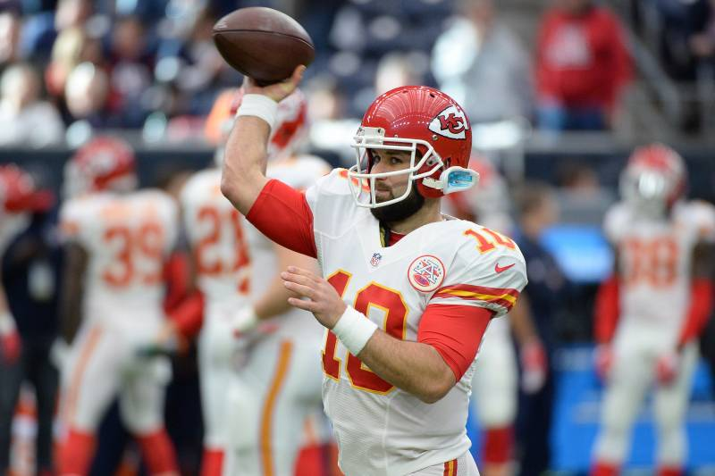 be890f15bd9 Kansas City Chiefs quarterback Chase Daniel (10) throws prior to an NFL  football game