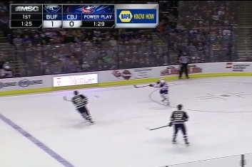 Sabres' David Legwand Scores Goal from Deep in Own Zone vs. Blue Jackets