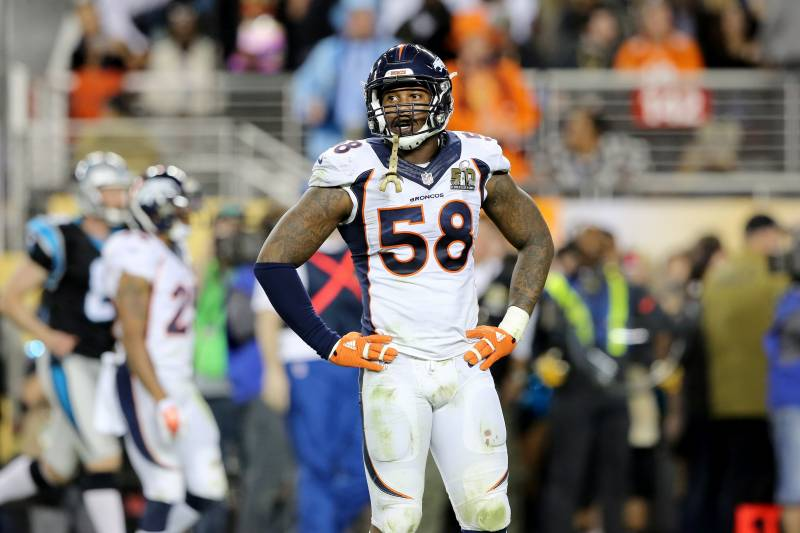 0c3dde1a98a Denver Broncos' Von Miller (58) is seen against the Carolina Panthers  during the
