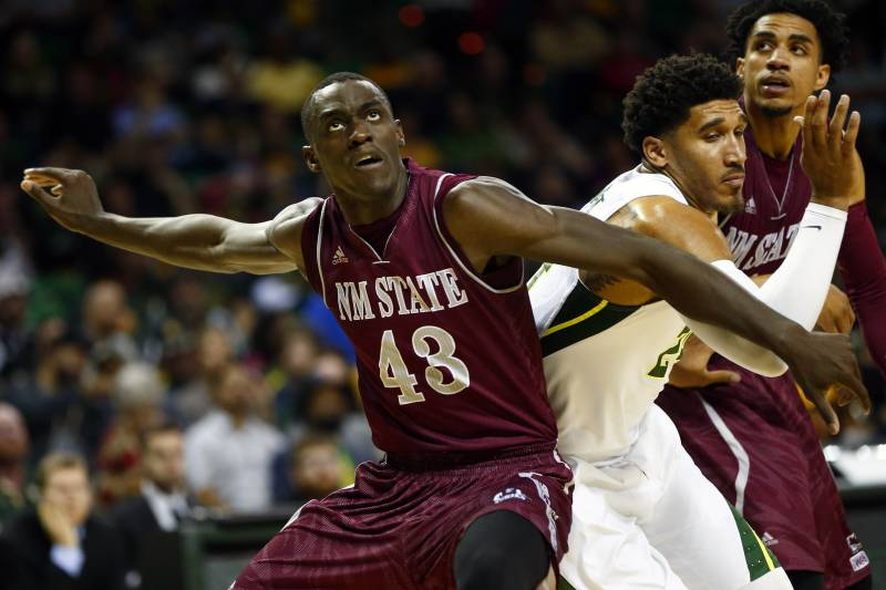 Dec 23, 2015; Waco, TX, USA; New Mexico State Aggies forward Pascal Siakam (43) blocks out Baylor Bears guard Ishmail Wainright (right) during the second half at Ferrell Center. Mandatory Credit: Kevin Jairaj-USA TODAY Sports