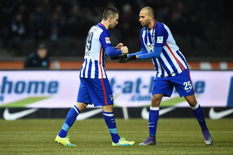 9f6dd4d72bd Hertha s Bosnian forward Vedad Ibisevic (L) celebrates scoring the 1-0 goal  with