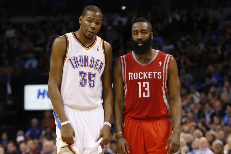 ef99c507ac16 Oklahoma City Thunder forward Kevin Durant (35) and Houston Rockets guard  James Harden (