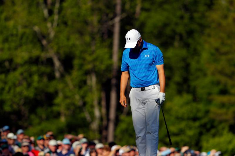 32712544bb AUGUSTA, GEORGIA - APRIL 10: Jordan Spieth of the United States reacts  after hitting
