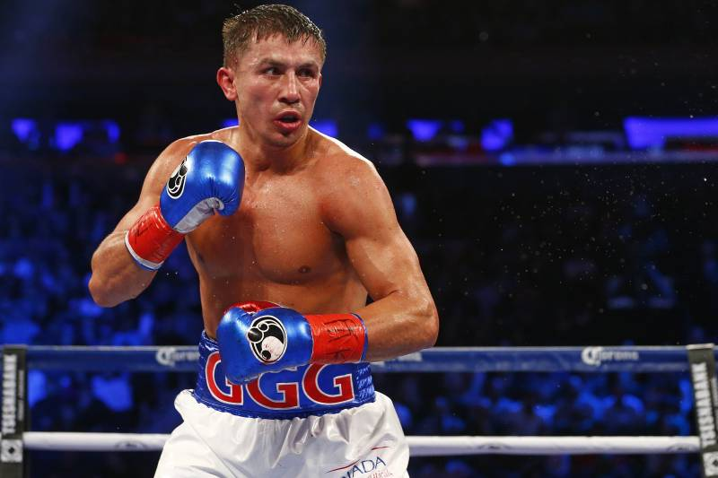 800c3db386e Gennady Golovkin in action against David Lemieux in a World middleweight  championship title unification bout at
