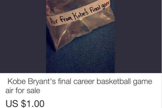 Bag of Air from Kobe Bryant's Final Career Game Is for Sale