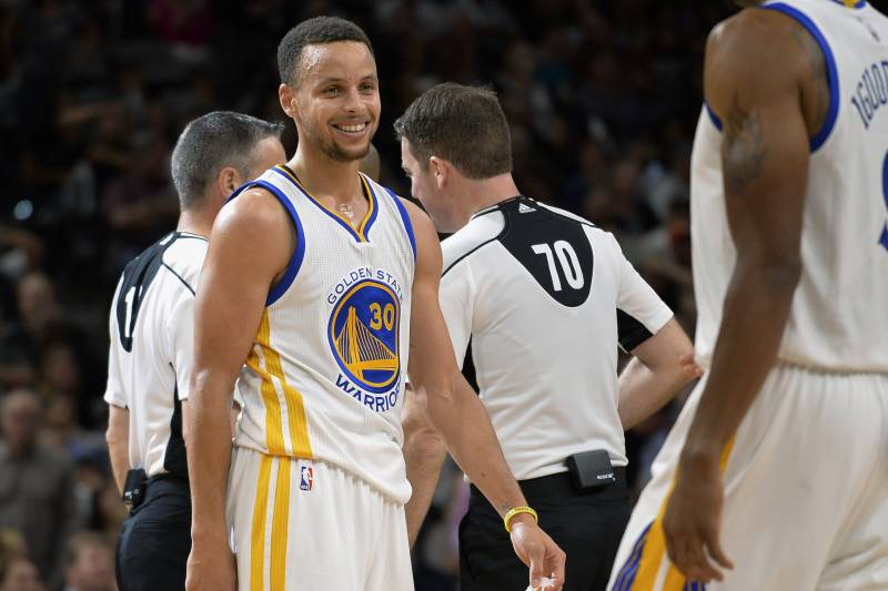 aee688d0ae9b Golden State Warriors guard Stephen Curry (30) smiles during the second  half of an