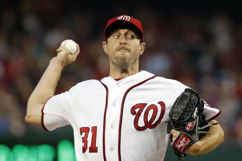 f39f8841 Washington Nationals starting pitcher Max Scherzer throws during the third  inning of a baseball game against