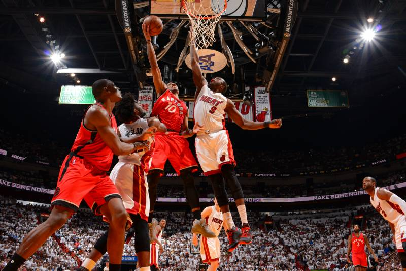 MIAMI,FL - MAY 13 :  DeMar DeRozan #10 of the Toronto Raptors goes up for the layup against the Miami Heat during the Eastern Conference playoffs Semifinals Game Six on May 13, 2016 at the American Airlines Arena in Miami, Florida. NOTE TO USER: User expressly acknowledges and agrees that, by downloading and/or using this Photograph, user is consenting to the terms and conditions of the Getty Images License Agreement. Mandatory Copyright Notice: Copyright 2016 NBAE (Photo by Jesse D. Garrabrant/NBAE via Getty Images)