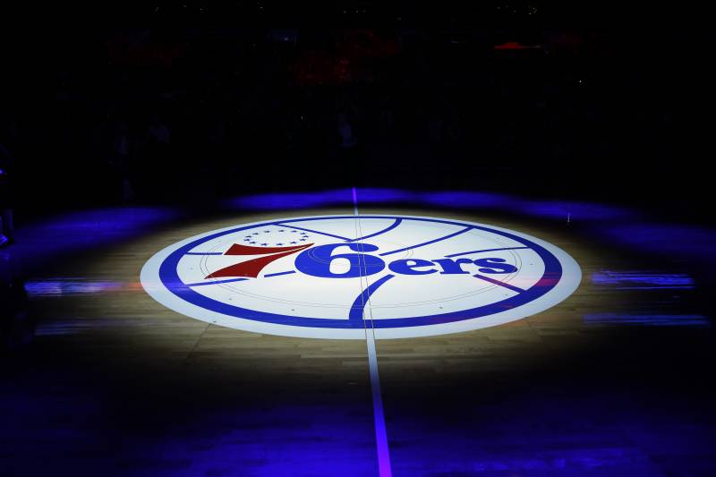 36962b758341 The Philadelphia 76ers  lhalf-court logo is shown before an NBA basketball  game against