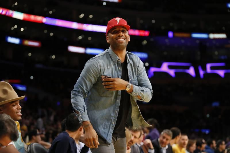 quality design d2cd2 c05d8 Cleveland Cavaliers  LeBron James  business manager Maverick Carter attends  the NBA basketball game between
