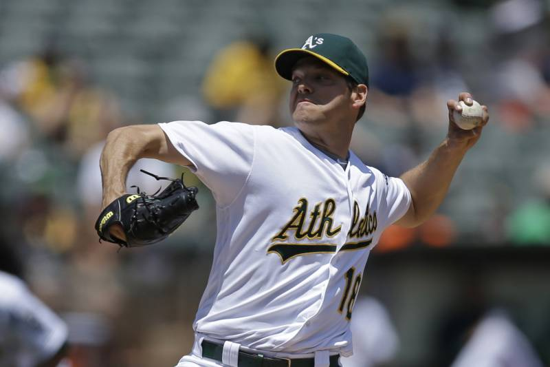 7c3bcc55aab Oakland Athletics pitcher Rich Hill works against the Detroit Tigers in the  first inning of a