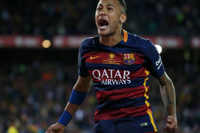9a083ca76 Barcelona s Brazilian forward Neymar celebrates at the end of the Spanish   Copa del Rey