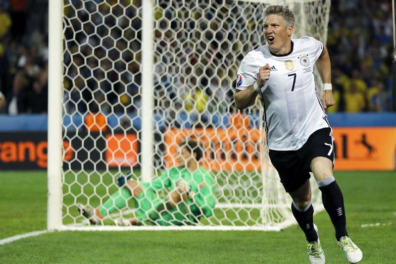 f0da35b6aff Germany's Bastian Schweinsteiger celebrates after scoring his side's second  goal during the Euro 2016 Group C