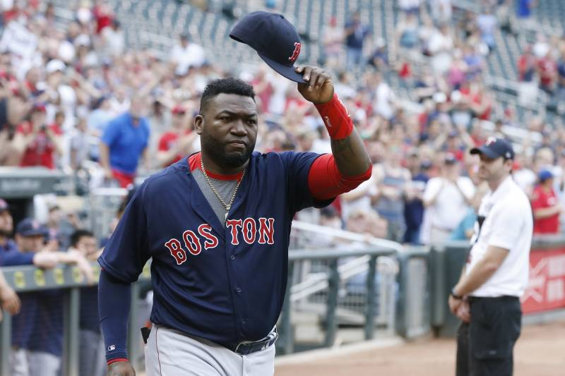 67576e93 Boston Red Sox David Ortiz doffs his cap as he acknowledges fans as he is  honored