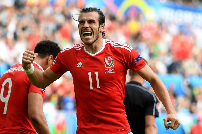 17f983580b47 BORDEAUX, FRANCE - JUNE 11: Gareth Bale of Wales celebrates his team's  second goal
