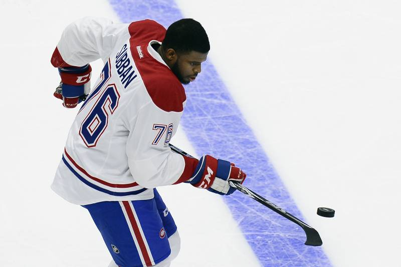 c4192409caf Montreal Canadiens defenseman P. K. Subban bounces the puck off his stick  as he competes in the