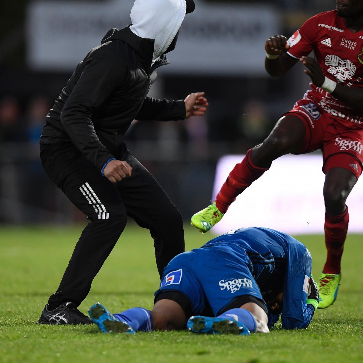 Swedish Allsvenskan Match Abandoned After Fan Attacks GK, Makes Bomb Threat