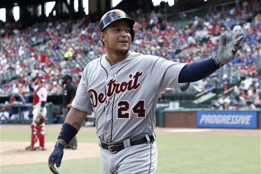 Miguel Cabrera waves at fans before MLB game.
