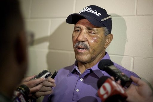 a42106cc9506e1 Atlanta Braves minor league manager Luis Salazar, who was hit in the face  by a