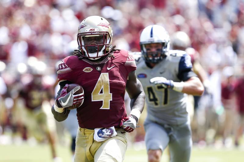 5d7829f97d0 TALLAHASSEE, FL - SEPTEMBER 10: Runningback Dalvin Cook #4 of the Florida  State