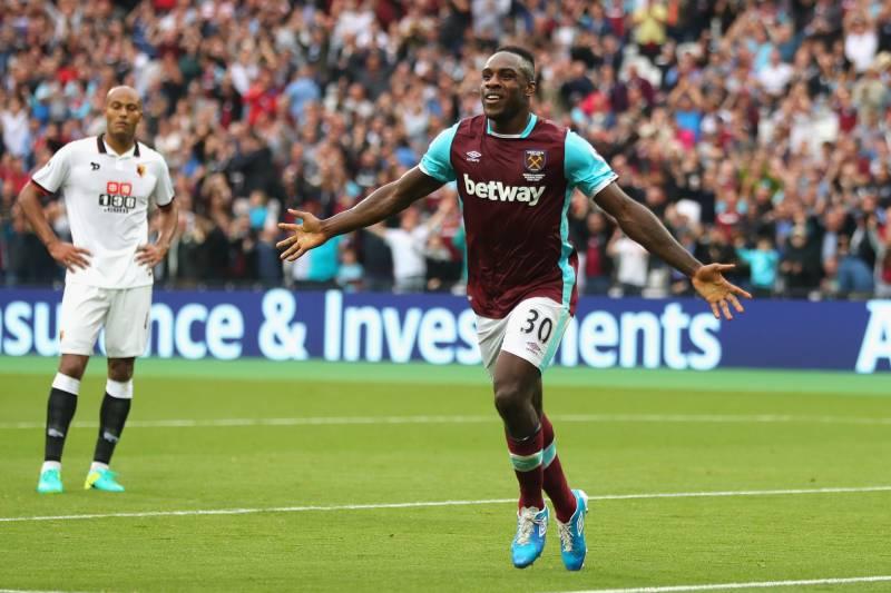 91ffc78c938 LONDON, ENGLAND - SEPTEMBER 10: Michail Antonio of West Ham United  celebrates scoring his