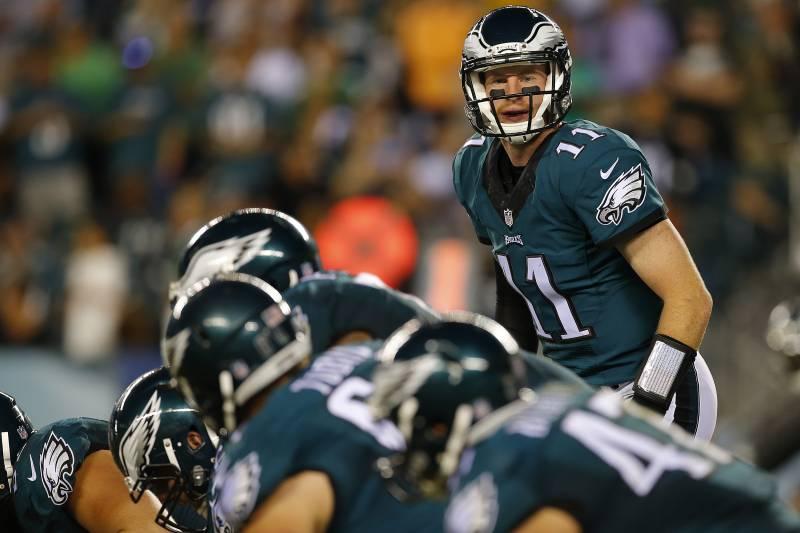 c2747745af2 PHILADELPHIA, PA - SEPTEMBER 25: Quarterback Carson Wentz #11 of the  Philadelphia Eagles