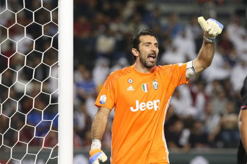 f63b2b652 DOHA, QATAR - DECEMBER 23: Gianluigi Buffon of Juventus FC reacts during  the Supercoppa