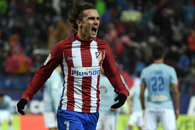 2fc61f4de Atletico Madrid s French forward Antoine Griezmann celebrates after scoring  a goal during the Spanish league football