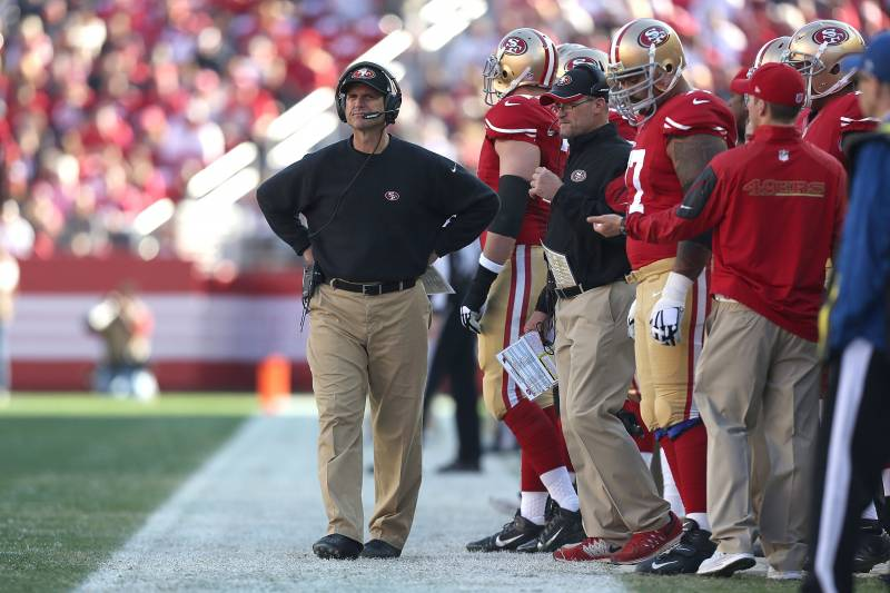 d0423c866a7 Jim Harbaugh Says 4 Years Spent Coaching 49ers May Warrant Endurance Medal